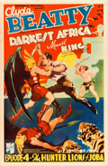 "Movie Posters:Serial, Darkest Africa (Republic, 1936). One Sheet (27"" X 41"") Chapter 4 --""Hunter Lions of Joba."". ..."