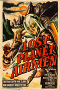 "Movie Posters:Science Fiction, Lost Planet Airmen (Republic, 1951). Trimmed One Sheet (27"" X40.5"") Feature version of King of the Rocket Men.. ..."
