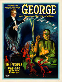 "George -- The Supreme Master of Magic (Otis Litho, Mid 1920s). Poster (20"" X 26.75"")"