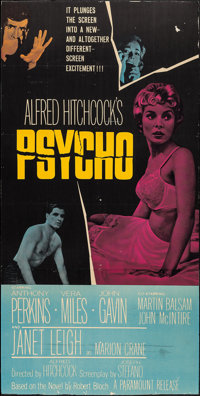 "Psycho (Paramount, 1960). Trimmed Three Sheet (38"" X 76""). Hitchcock"