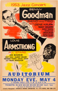 Music Memorabilia:Posters, Benny Goodman And Louis Armstrong Rochester Auditorium ConcertPoster (1953)....