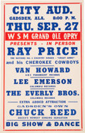 Music Memorabilia:Posters, Everly Bros. Grand Ole Opry City Auditorium Concert Poster (1956).Rare....