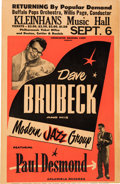 Music Memorabilia:Posters, Dave Brubeck Kleinhans Music Hall Concert Poster (circa early1960s)....