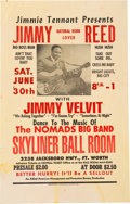 Music Memorabilia:Posters, Jimmy Reed Skyliner Ball Room Concert Poster (1962)....