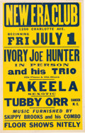 Music Memorabilia:Posters, Ivory Joe Hunter New Era Club Concert Poster (1955)....