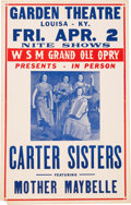 Music Memorabilia:Posters, Carter Sisters Grand Ole Opry Garden Theatre Concert Poster(1954)....