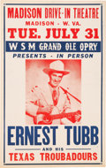 Music Memorabilia:Posters, Ernest Tubb Grand Ole Opry Madison Drive-In Theatre Concert Poster(1956)....