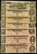 Confederate Notes:Group Lots, Group of Six $10 and $5 1864 Notes.... (Total: 6 notes)