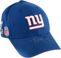 Football Collectibles:Others, 2012 Tom Coughlin Game Worn, Signed New York Giants Super Bowl XLVI Sideline Cap....