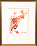 Basketball Collectibles:Others, 1991 Michael Jordan Original Painting by LeRoy Neiman....