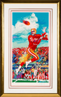 Football Collectibles:Others, 1995 Jerry Rice & Leroy Neiman Signed Serigraph Display. ...