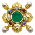 Estate Jewelry:Brooches - Pins, Multi-Stone, Diamond, Cultured Pearl, Gold Brooch. ...