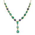 Estate Jewelry:Necklaces, Emerald, Sapphire, Gold Necklace. ...