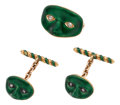 Estate Jewelry:Suites, Gentleman's Diamond, Enamel, Gold Cuff Link and Lapel Pin Set. ...(Total: 3 Items)