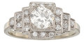 Estate Jewelry:Rings, Art Deco Diamond, Platinum, White Gold Ring. ...