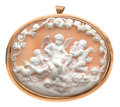 Estate Jewelry:Cameos, Victorian Shell Cameo, Gold Pendant-Brooch . ...