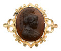 Estate Jewelry:Brooches - Pins, Victorian Hardstone Cameo, Gold Brooch. ...