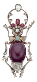 Estate Jewelry:Brooches - Pins, Ruby, Diamond, Opal, Gold Brooch. ...