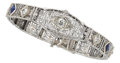 Estate Jewelry:Bracelets, Diamond, Synthetic Sapphire, Platinum, White Gold Bracelet. ...