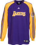 Basketball Collectibles:Uniforms, 2007-08 Lamar Odom NBA Finals Game Worn Los Angeles Lakers Warm-upShirt....