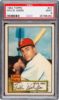 Baseball Cards:Singles (1950-1959), 1952 Topps Willie Jones (Red Back) #47 PSA Mint 9 - Pop Two, NoneHigher! ...