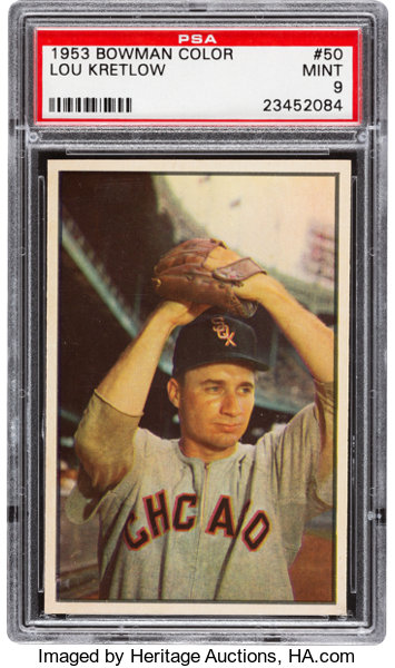 1953 Bowman Color Lou Kretlow 50 Psa Mint 9 Baseball Cards