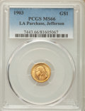 Commemorative Gold, 1903 G$1 Louisiana Purchase, Jefferson Gold Dollar MS66 PCGS....