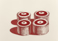 Prints:Contemporary, Wayne Thiebaud (b. 1920). Cherry Cakes, from RecentEtchings II, 1979. Etching and aquatint in colors on Somersetpa...