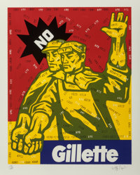 Wang Guangyi (b. 1957) Gillette, from The Great Criticism series, 2002 Lithograph in colo