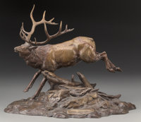 Clark Everice Bronson (American, b. 1939) Royal Elk, 1984 Bronze with brown patina 15-3/4 inches