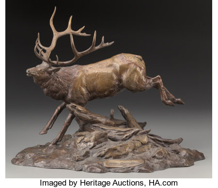 Clark Everice Bronson (American, b. 1939) Royal Elk, 1984 Bronze with brown patina 15-3/4 inches (40.0 cm) Ed. 56/75... (Total: 2 Items)