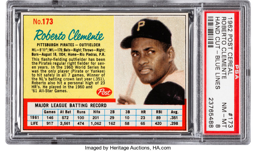 1962 Post Cereal Roberto Clemente Blue Lines 173 Psa Nm Mt 8