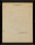 Football Collectibles:Photos, 1931 Curly Lambeau Signed Letter to Player Kermit Lange....