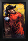 Golf Collectibles:Miscellaneous, 2000's Tiger Woods Signed Giclee by Stephen Holland....
