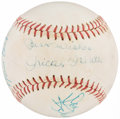 Baseball Collectibles:Balls, Mickey Mantle (Vintage Signature) and others Multi-Signed Baseball (6 Signatures)....