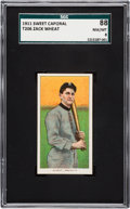 Baseball Cards:Singles (Pre-1930), 1909-11 T206 Sweet Caporal Zack Wheat SGC 88 NM/MT 8 - The HighestSGC Example! ...