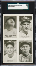 Baseball Cards:Singles (1930-1939), 1934 Exhibits Four-On-One Ruth/Gehrig/Gomes/Dickey SGC 60 EX 5 -Pop Two, None Higher. ...