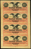Obsoletes By State:Louisiana, New Orleans, LA- Canal Bank $10-$10-$10-$10 18__ Uncut Sheet. ...