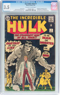 Silver Age (1956-1969):Superhero, The Incredible Hulk #1 (Marvel, 1962) CGC VG- 3.5 Off-white towhite pages....