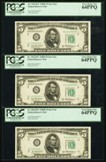 Small Size:Federal Reserve Notes, Fr. 1963-B* $5 1950B Federal Reserve Star Notes. Three Consecutive Examples. PCGS Very Choice New 64PPQ.. ... (Total: 3 notes)