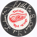 Hockey Collectibles:Others, Howe, Abel and Lindsay Signed Hockey Puck....