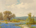 Fine Art - Painting, American:Modern  (1900 1949)  , Porfirio Salinas (American, 1910-1973). Bluebonnets. Oil oncanvas. 16 x 20 inches (40.6 x 50.8 cm). Signed lower left: ...