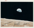 """Explorers:Space Exploration, Apollo 8 Iconic """"Earthrise"""" Original NASA """"Red Number"""" Color Photowith Crew Autopen Signatures. ..."""