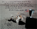 Autographs:Celebrities, Gene Cernan Signed Large Apollo 17 Lunar Surface Color Photo with Extensive Handwritten Quote. ...