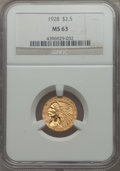 (5)1928 $2 1/2 MS63 NGC. NGC Census: (4645/3195). PCGS Population: (3033/1939). CDN: $410 Whsle. Bid for problem-free NG...