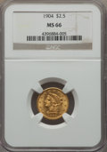 Liberty Quarter Eagles, 1904 $2 1/2 MS66 NGC....