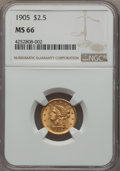 Liberty Quarter Eagles, 1905 $2 1/2 MS66 NGC....
