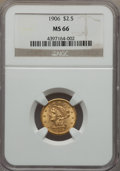 Liberty Quarter Eagles, 1906 $2 1/2 MS66 NGC....