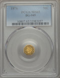 California Fractional Gold , 1876 50C Indian Octagonal 50 Cents, BG-949, R.4, MS65 PCGS. PCGSPopulation: (8/1). NGC Census: (1/1). ...