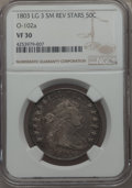 Early Half Dollars, 1803 50C Large 3, Small Reverse Stars, O-102a, T-2, High R.3, VF30NGC. NGC Census: (1/4). PCGS Population: (1/3).. Fro...